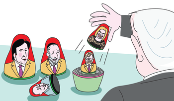 An illustration showing Netanyahu disassembling a Russian matryoshka nesting doll. The doll's heads are painted with images of French billionaire Arnaud Mimran, Ministers Dery and Bennett, State Comptroller Yossi Shapira and the PM's wife, Sara.