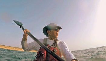 Daniel Sherman watching the sunset before pulling into Ashkelon on the final day of paddling last Friday.