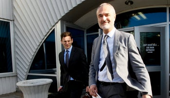 Nick Denton, founder of Gawker, leaves the courthouse after a jury returned its decision Monday, March 21, 2016, in St. Petersburg, Fla.