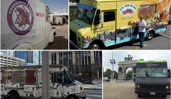 Clockwise from top left: Conversos y Tacos; New York on Rye Deli Truck; Taim Mobile; Milt's Barbecue for the Perplexed Food Truck.
