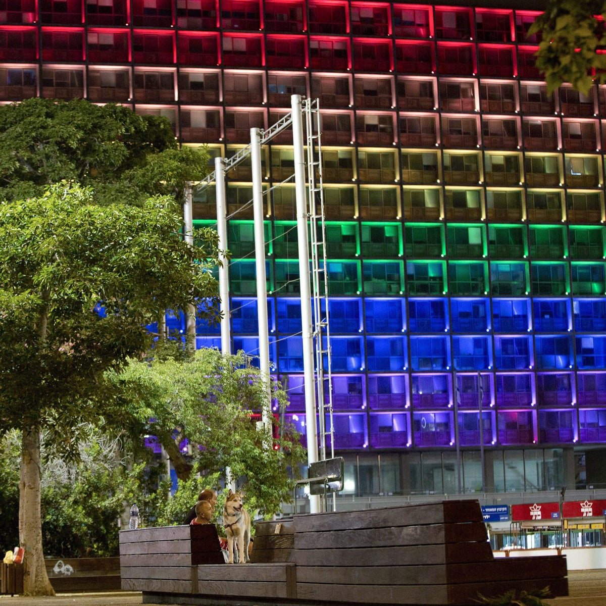 Tel-Aviv city hall lit up with rainbow flag colors in solidarity with Florida's shooting attack victims, in Tel Aviv, Israel, Sunday, June 12, 2016.