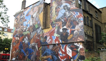 A mural on Cable Street commemorating the violence of 80 years ago when Jews confronted fascists in London's East End.