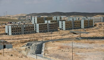 The IDF's city of training bases being built in the Negev, 2014.