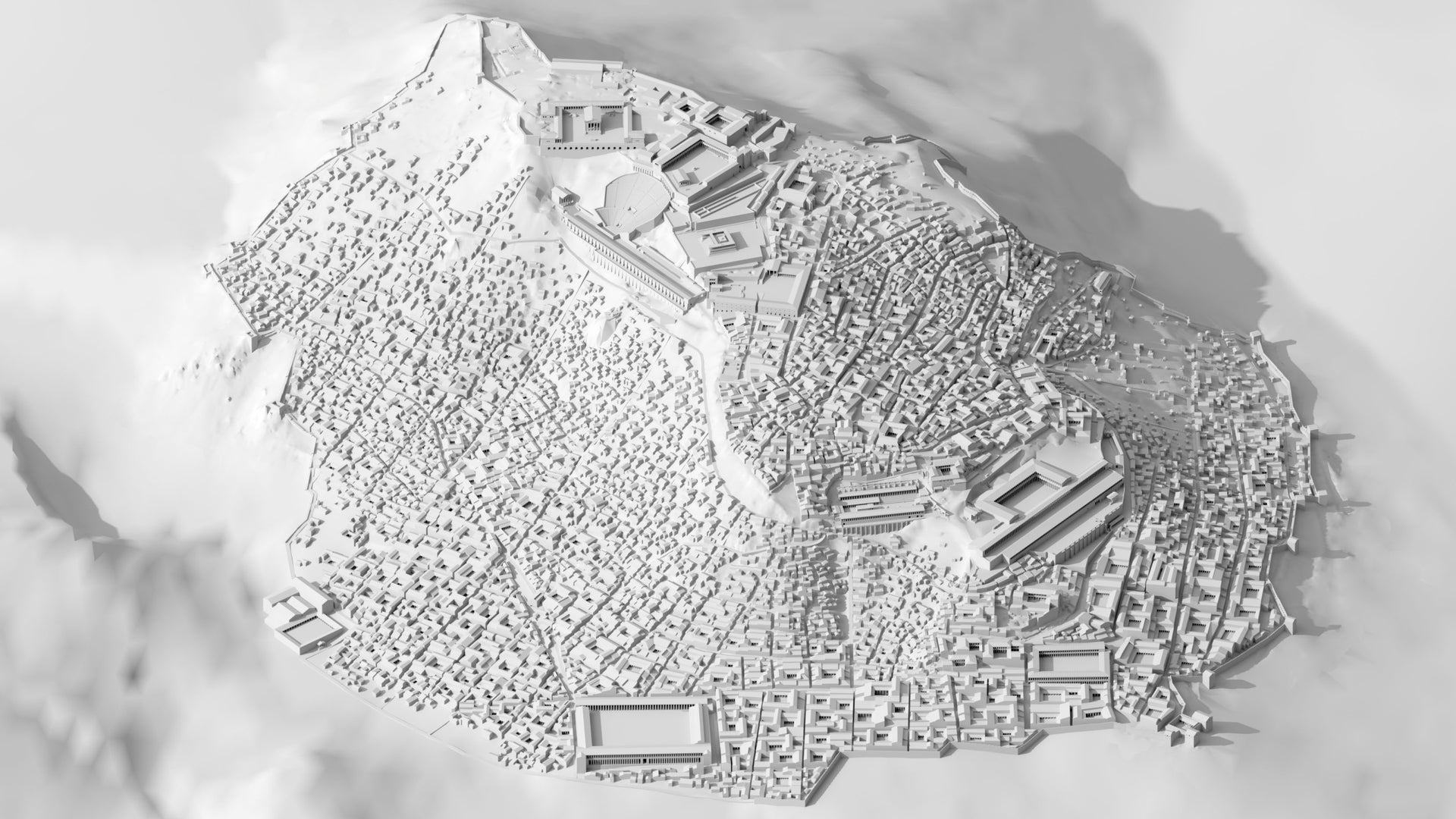 A 3-D reconstruction of ancient Pergamon, showing the monumental construction on high and the sprawling city below.
