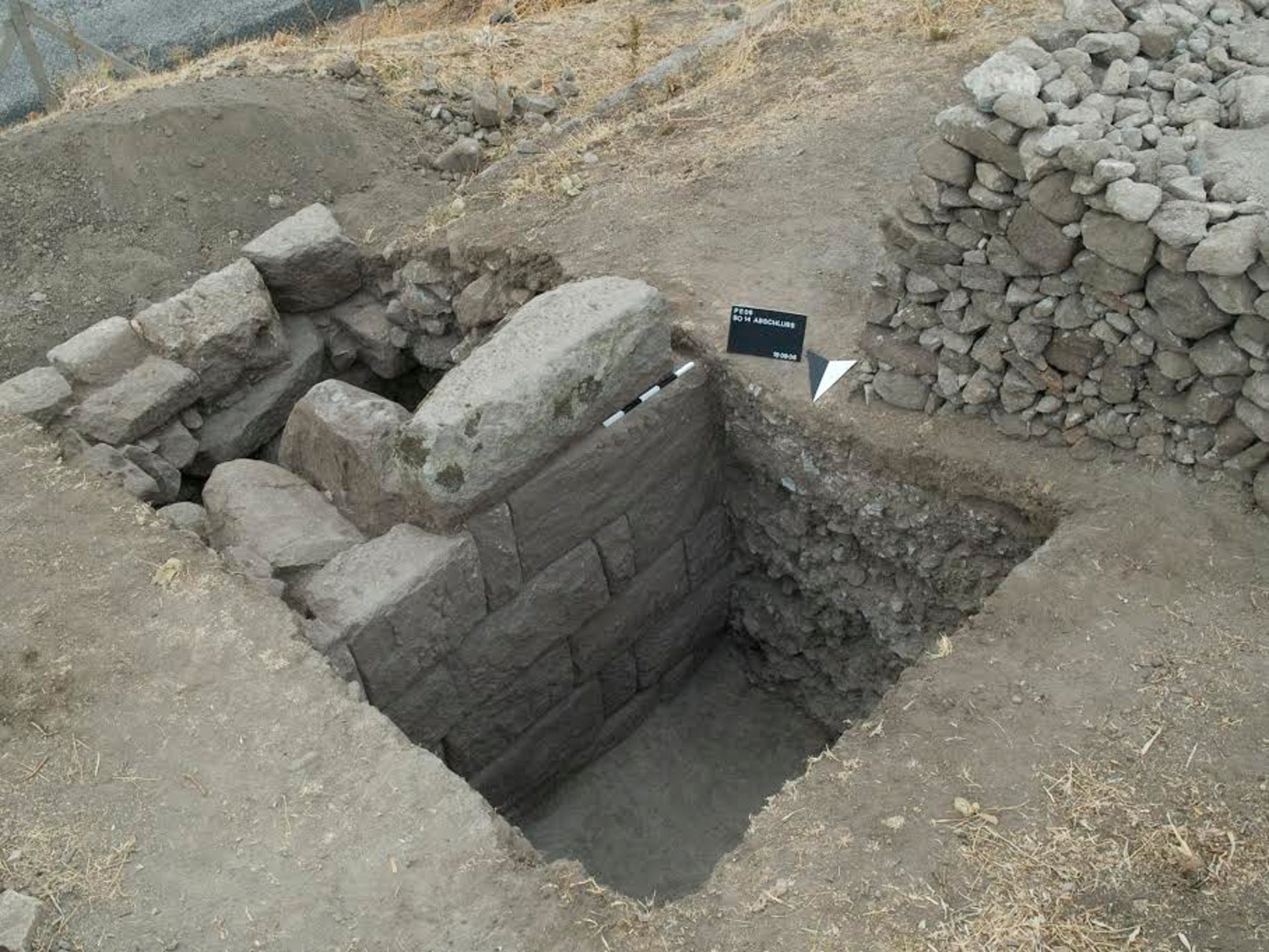 South-east curtain wall in the Hellenistic fortification circuit.