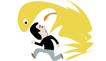 An illustration of Sayed Kashua running away from a yellow monster that's about to swallow him whole.