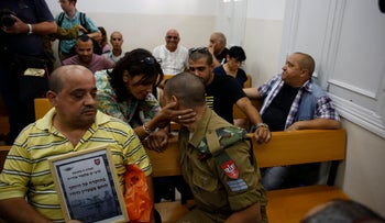 Elor Azaria, a soldier charged with manslaughter after shooting a wounded Palestinian assailant in the head, in military court on June 16, 2016.