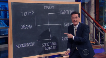"""Stephen Colbert diagramming Donald Trump's thoughts on """"The Late Show,"""" June 14, 2016."""
