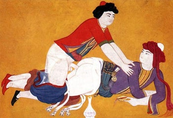 An Ottoman illustration from the 19th Century book 'Sawaqub al-Manaqui' depicting two men having sex.