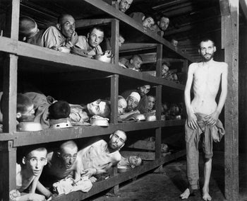 Elie Wiesel and other inmates in Buchenwald camp, 1945.