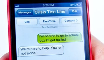 The Crisis Text Line provides a free one-on-one connection with a crisis counselor via SMS. The texts are anonymous and confidential.