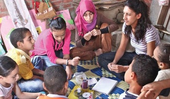 An Educate-Me education program taking place in Egypt. The nonprofit's elementary school program has been accredited by the government.