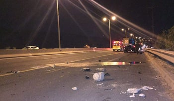 The scene of the stone-throwing incident near Israel's Route 443.