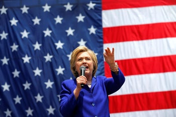 Democratic presidential nominee Hillary Clinton gives speech in California during campaign stop on June 6, 2016.