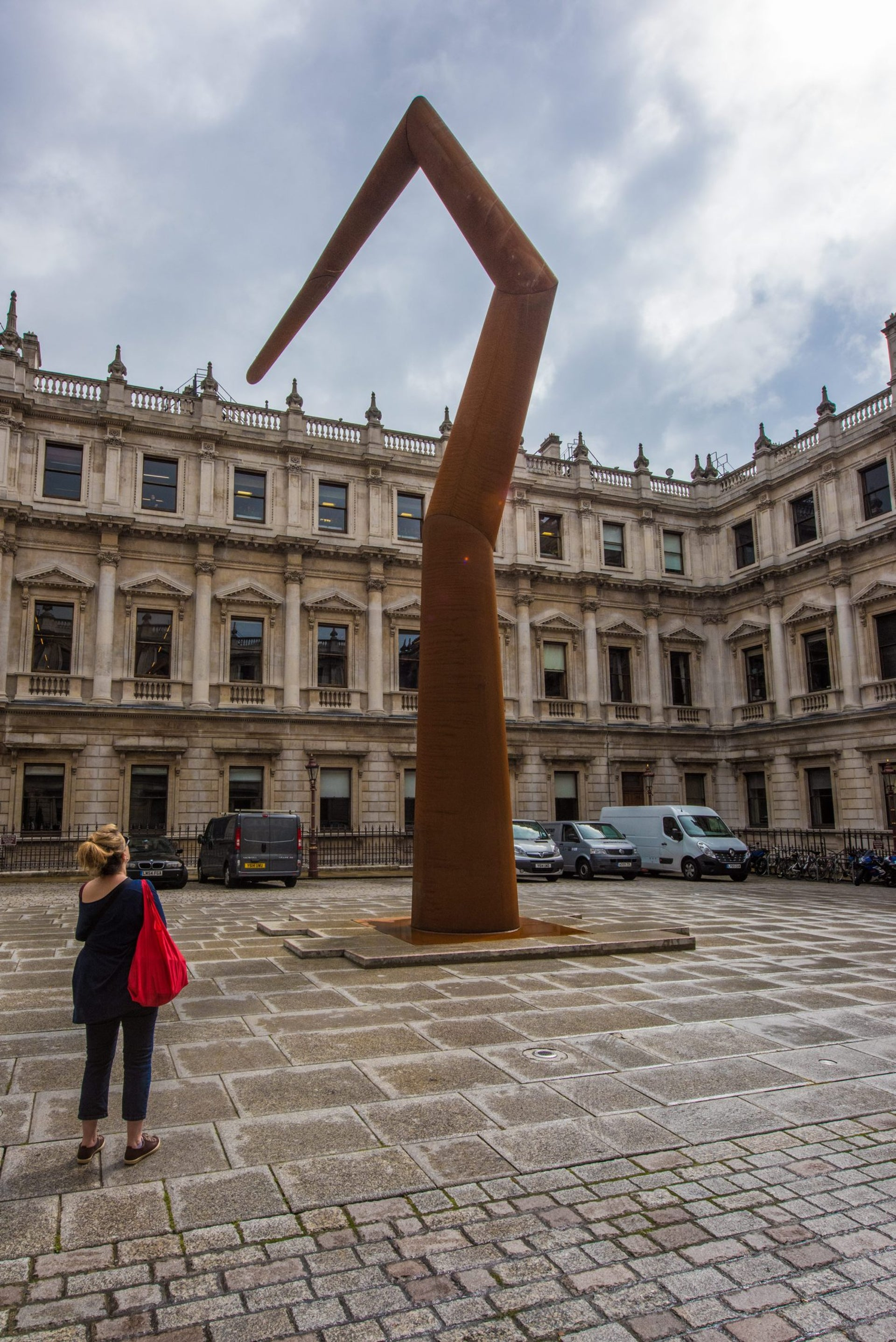 """""""Spyre,"""" a sculpture by Ron Arad on display at the The Royal Academy of Arts in London."""