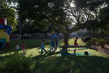 A playground in Acre, this week.