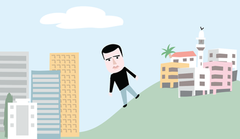 An illustration depicting Sayed Kashua on a hill between an Israeli city and an Arab town.