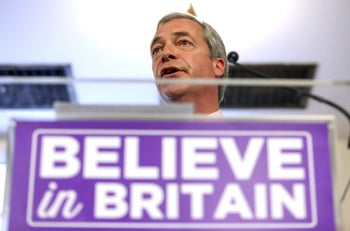 "Nigel Farage, leader of the U.K. Independence Party (UKIP), speaks during a news conference for the EU referendum ""Leave"" campaign in London, U.K., on Wednesday, June 22, 2016."