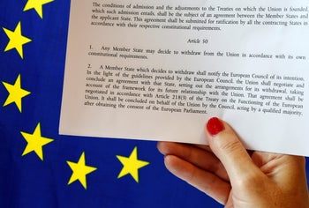 Article 50 of the EU's Lisbon Treaty that deals with the mechanism for departure. Brussels, Belgium, June 24, 2016.