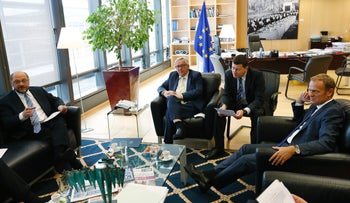 EU Parliament leader Martin Schulz, European Commission chief Jean-Claude Juncker, Juncker's Head of Cabinet, Martin Selmayr and President of the European Council, Donald Tusk in Brussels on June 24, 2016.