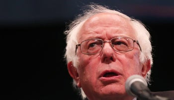 U.S. Sen. Bernie Sanders (D-VT) speaks to supporters in Manhattan at an event where he went over his core political beliefs on June 23, 2016 in New York City.