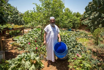 Nizar Rayan trying to water plant nursery in the West Bank village of Qarawat Bani Hassan.