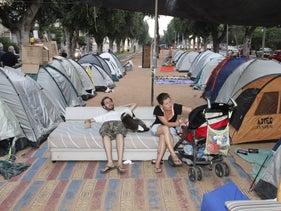A couple takes part in the Israeli 'tent protest' over housing prices in 2011.