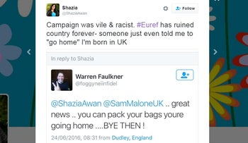 A screenshot of racist tweets targeted at Shazia Awan on Twitter.