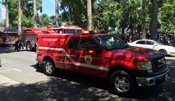 A Sacramento Fire Department truck at the scene of a stabbing at a neo-Nazi rally, Sacramento, U.S., June 26, 2016.