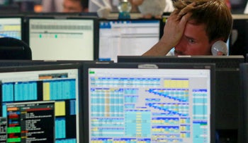 Traders from BGC, a global brokerage company in London's Canary Wharf financial centre react as European stock markets open after the Brexit vote, June 24, 2016.