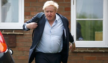 Boris Johnson leaves his home in Oxfordshire, Britain, June 25, 2016.