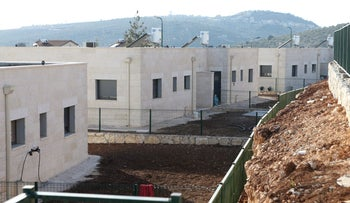 Illegal construction at the settlement Rahelim, in 2014.