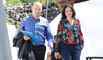 Ministers Bennett and Shaked before a cabinet meeting in the Golan Heights, April 2016.