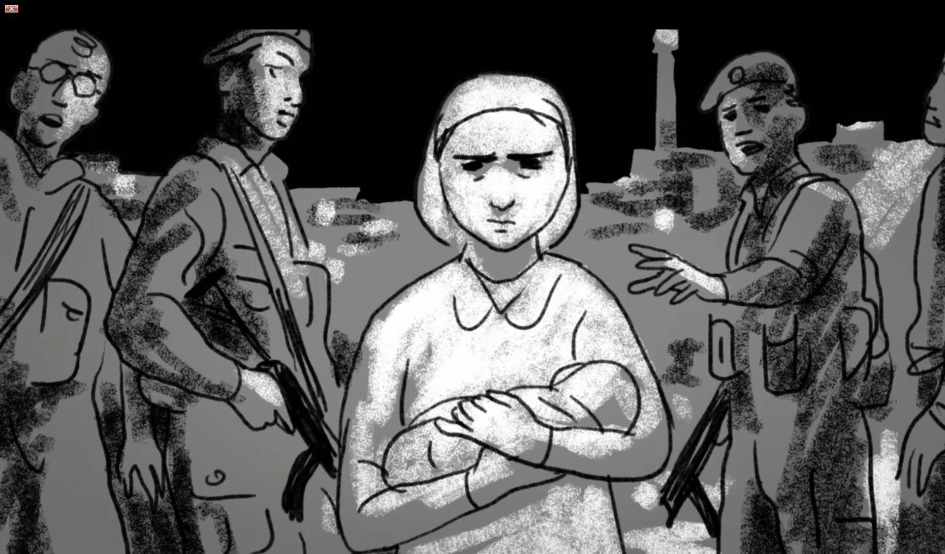 An illustration by David Polonski from the movie (Sarah Nachshon with the dead child in her arms).