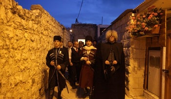 Members of the Circassian community in Israel, wearing traditional dress.