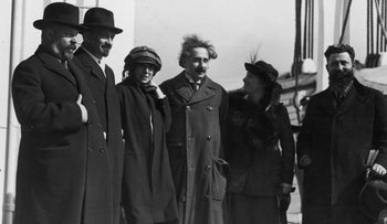 Albert Einstein, center, stands with other Zionist leaders, including Chaim Weizmann, second from left, in New York April 1929.