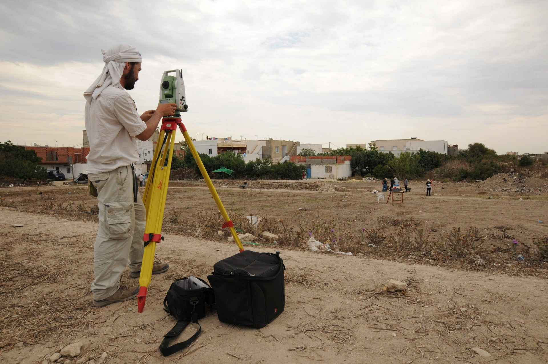 AT the Carthage circus dig: Iván Fumadó Ortega of Aix-Marseille University performing topographical measurements at the circus