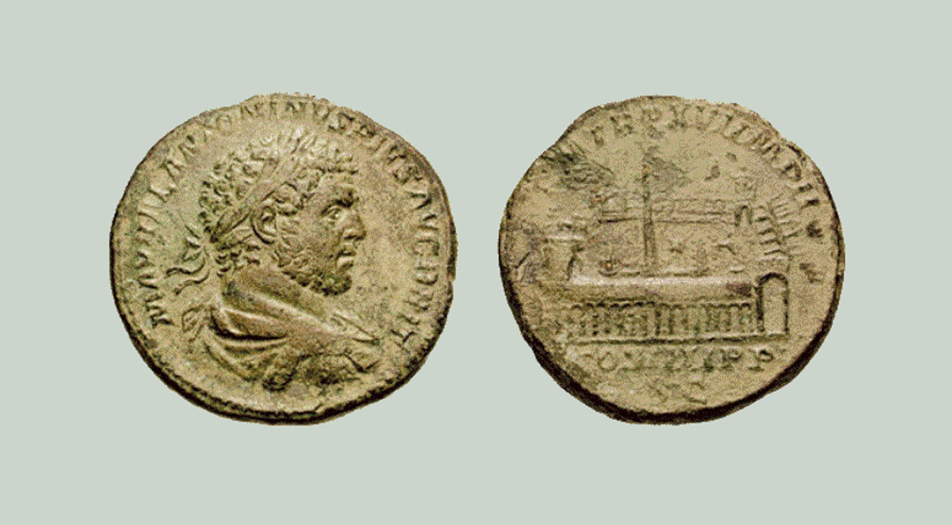 A sestertius depicting the Roman emperor Marcus Aurelius Severus Antoninus Augustus (better known as Caracalla) on one side, and the Circus Maximus on the other side, with Augustus' obelisk midway along the central dividing barrier.