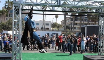 An American Ninja Challenge competitor in Batman costume, 3 April, 2009.