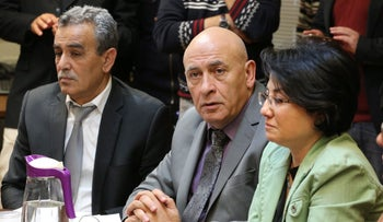 Balad MKs Jamal Zahalka, left, Basel Ghattas and Haneen Zoabi in the Knesset, February 2016.