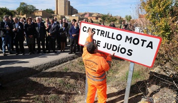 "Sign erected at ceremony for Spanish village formally called ""Camp Kill Jews,"" now ""Castrillo Mota de Judios,"" October 23, 2015."