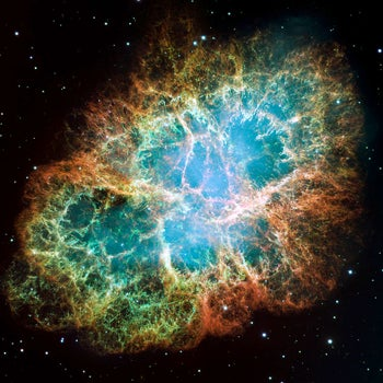 Iosif Shklovsky famously explained the strong radiation emanating from the Crab Nebula, which covers almost the entire spectrum: Shklovsky suggested that the light was synchrotron radiation, which is caused when rapidly moving electrons pass through a strong magnetic field.