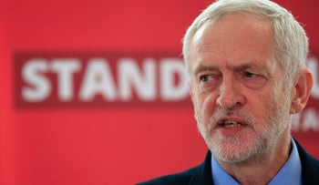 Britain's Labour Party leader Jeremy Corbyn delivers a speech on Labour's anti-Semitism inquiry findings at Savoy Place, London Thursday June 30, 2016.