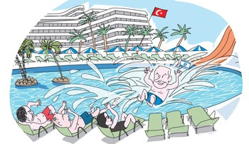 An illustration showing Netanyahu jumping into a pool and splashing water on Lieberman, Bennett and Shaked.