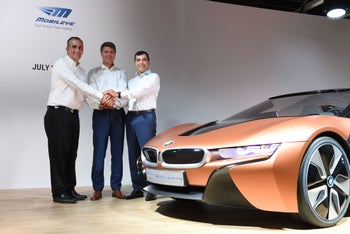 Harald Krueger, BMW's CEO with Amnon Shashua, founder and CTO of Mobileye, and Brian Krzanich, CEO of Intel. July 1, 2016.