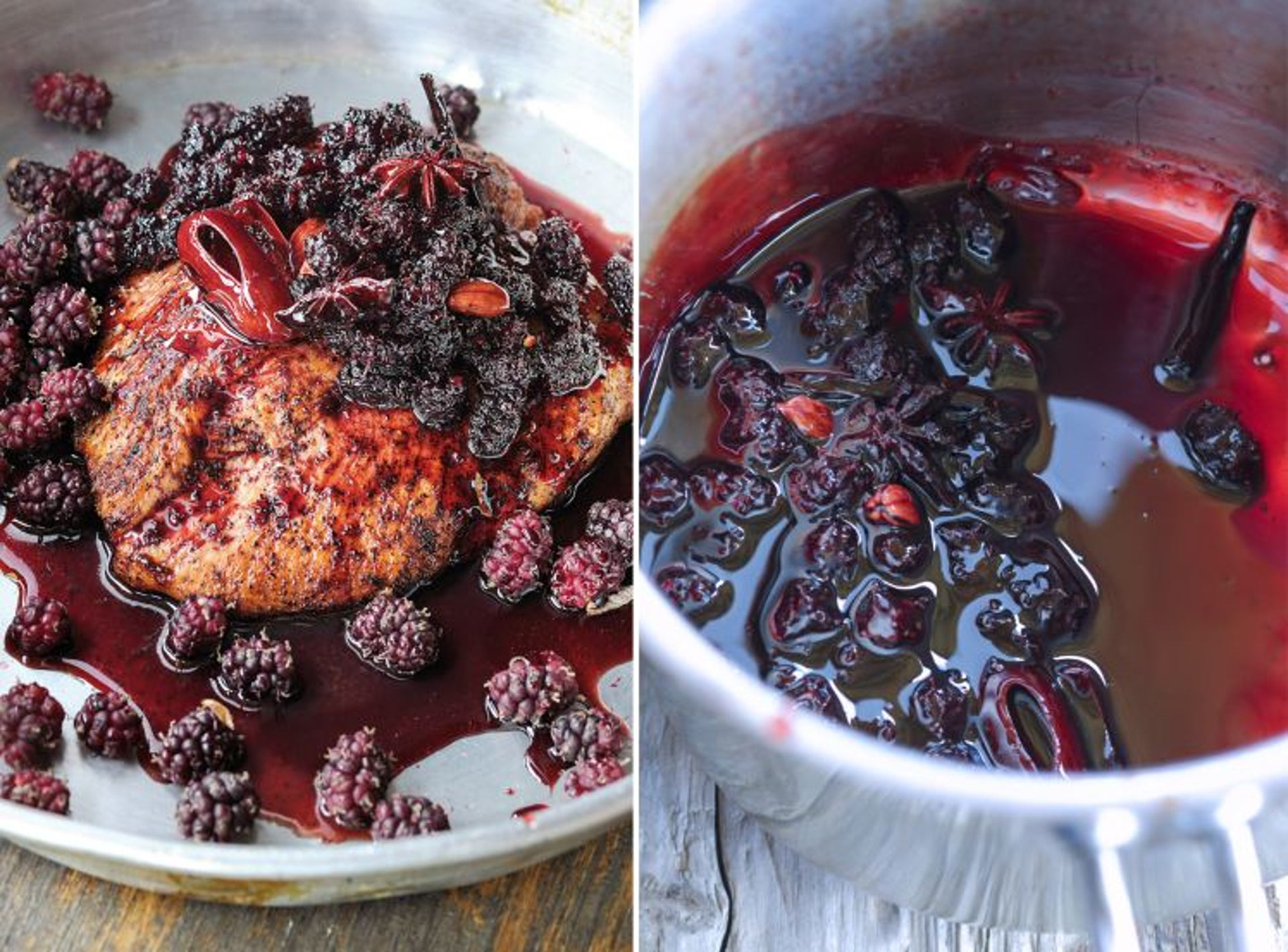 Chef Erez Komarovsky's chicken with black mulberry preserves (left) and freshly picked berries.