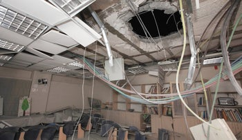 Damage from a rocket fired from Gaza that landed in a center for children in Sderot, July 2, 2016.