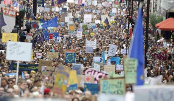 Thousands demonstrate against Britain's decision to leave the European Union in central London, July 2, 2016.
