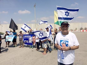 Herzl, Oron Shaul's father, at the Kerem Shalom crossing with Gaza, July 3, 2016.