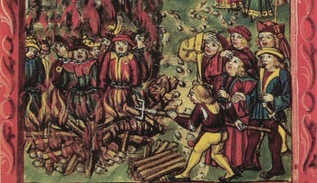 Illustrative: Jews identified by yellow badges are burned at the stake in 1515.